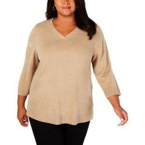 NWT Karen Scott Women's Plus V-Neck Ribbed Sweater